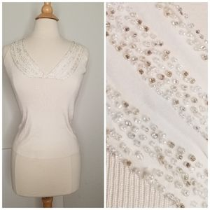 Ann Taylor Beaded White Top